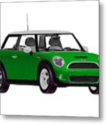 Envy Green Mini Cooper Metal Print
