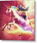 Epic Space Sloth Riding On Unicorn Metal Print
