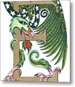 Epsilon Eagle In Green And Gold Metal Print