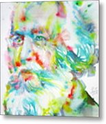 Ernst Haeckel - Watercolor Portrait Metal Print