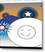 Eskimo And Snowflakes Graphic Metal Print