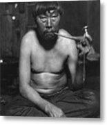 Eskimo Smoking Pipe, Photograph Metal Print by Everett