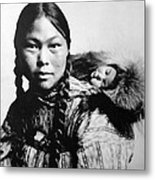 Eskimo Woman And Child Metal Print
