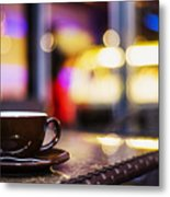 Espresso Coffee Cup In Cafe At Night Metal Print