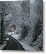 Esso Barn In Winter Metal Print