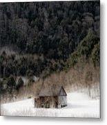 Ethereal Barn In Winter Metal Print
