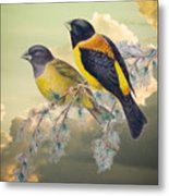 Ethereal Birds On Snowy Branch Metal Print