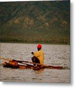 Ethiopia  Baiting A Longline On Lake Chamo Metal Print