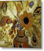 Etrusian Vase With Flowers Metal Print