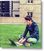 European Graduate Student Studying In New York Metal Print