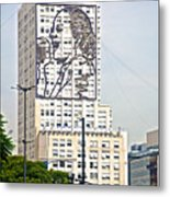 Eva Peron Outlined On The Wall Of A Skyscraper On July Nine Avenue  In Buenos Aires-argentina Metal Print