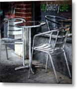 Evening At A Sidewalk Cafe Metal Print