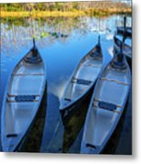 Evening Canoes At The Dock Metal Print