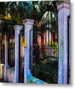Evening Fence And Gate - Nola Metal Print