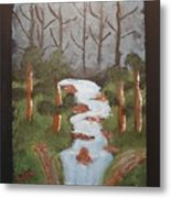 Evening Forest Waterfall Metal Print