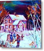 Evening  Game At The Chalet Metal Print