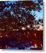 Evening Harbor Lights Metal Print
