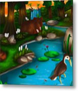 Evening In The Deep Green Forest Metal Print