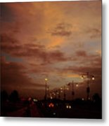 Evening Lights On Road Metal Print