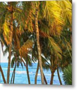 Evening Palms In Trade Winds Metal Print