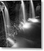 Evening Plunge Waterfall Black And White Metal Print