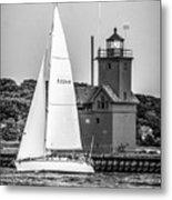 Evening Sail At Holland Light - Bw Metal Print