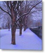 Evening Snow Path At Waterfront Park Burlington Vermont Metal Print