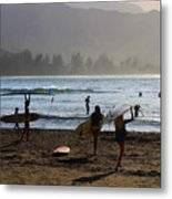 Evening Surfers At Hanalei Bay Metal Print