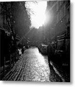 Evening Walk In Paris Bw Squared Metal Print