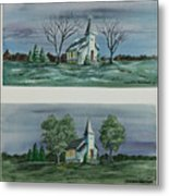 Evening Worship In Winter And Summer Metal Print