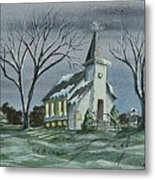 Evening Worship In Winter Metal Print