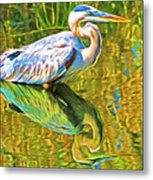 Everglades Blue Heron Metal Print