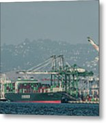 Evergreen Freight Ship And Cargo In Port Of Oakland, California Metal Print