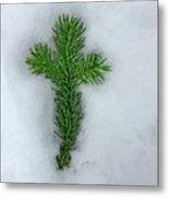 Evergreen Snow Cross Metal Print
