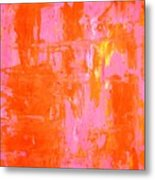 Everyone's Fav - Pink And Orange Abstract Art Painting Metal Print
