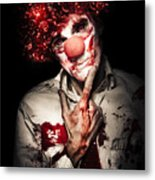 Evil Blood Stained Clown Contemplating Homicide Metal Print