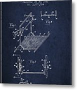 Exercise Machine Patent From 1961 - Navy Blue Metal Print