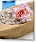 Exfoliating Body Scrub From Sea Salt And Rose Petals Metal Print by Frank Tschakert