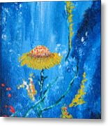Exotic Colorful Flowers Abstract Composition Metal Print