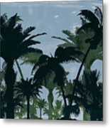 Exotic Palm Trees Silhouettes Water Color Metal Print