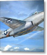 Experimental Jet Fighter Xp-83 In Fly Metal Print