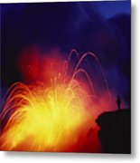 Exploding Lava And Person Metal Print