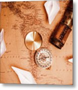Explorer Desk With Compass, Map And Spyglass Metal Print