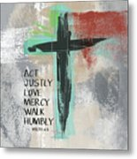 Expressionist Cross Love Mercy- Art By Linda Woods Metal Print