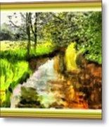 Expressionist Riverside Scene L A With Alt. Decorative Printed Frame. Metal Print