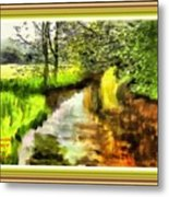 Expressionist Riverside Scene L A With Decorative Ornate Printed Frame Metal Print