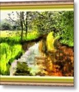 Expressionist Riverside Scene L B With Alt. Decorative Printed Frame.  Metal Print