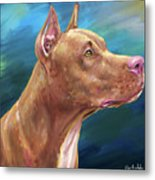 Expressive Painting Of A Red Nose Pit Bull On Blue Background Metal Print