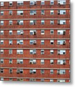 External Facade With Many Windows All Identical. Metal Print
