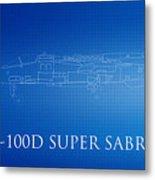 F-100d Super Sabre Blueprint Metal Print
